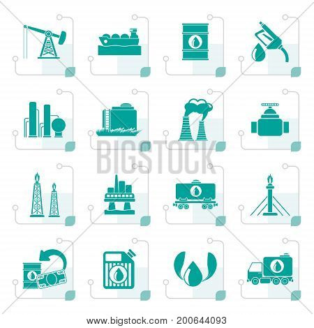 Stylized Petrol and oil industry icons - vector icon set