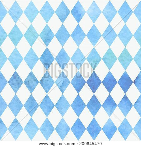 Oktoberfest bavarian watercolor aquarelle traditional blue white beautiful background pattern. Bavarian traditional seamless with watercolor blue rhombus background. Vector illustration. EPS 10