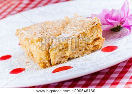 Cake Napoleon with berry sauce on white plate