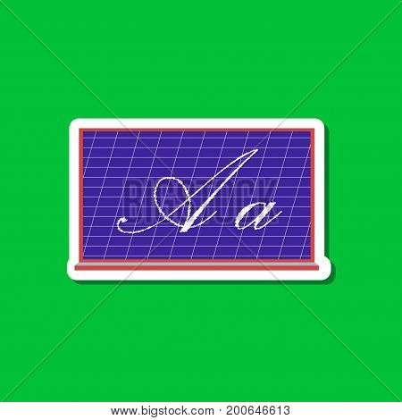 paper sticker on stylish background of blackboard