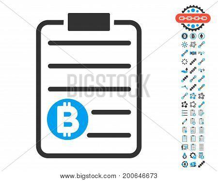 Bitcoin Price List pictograph with bonus blockchain symbols. Vector illustration style is flat iconic symbols, modern colors.