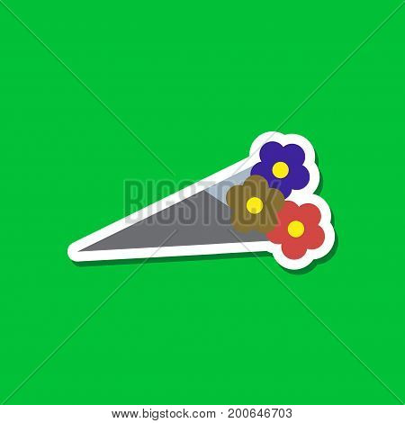 paper sticker on stylish background of bouquet flowers