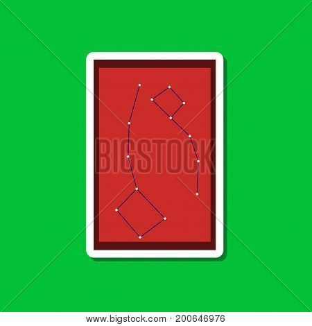 paper sticker on stylish background of constellation