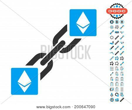 Ethereum Blockchain pictograph with bonus crypto currency images. Vector illustration style is flat iconic symbols, modern colors.