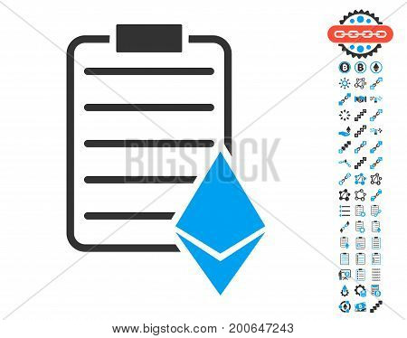 Ethereum Contract icon with bonus smart contract pictograms. Vector illustration style is flat iconic symbols, modern colors.