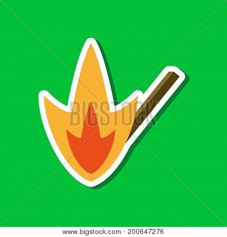 paper sticker on stylish background of match fire