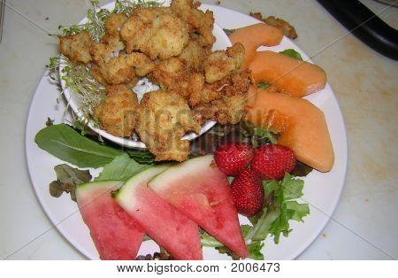 calimari and fruit