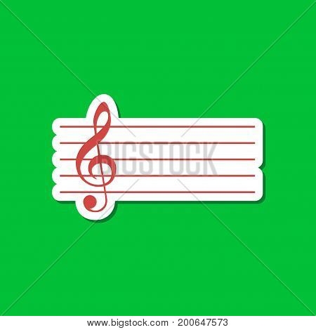 paper sticker on stylish background of treble clef