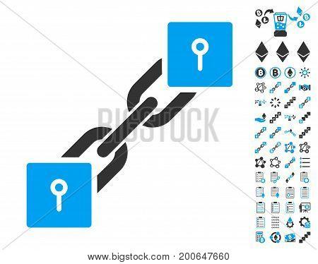Locker Blockchain pictograph with bonus smart contract symbols. Vector illustration style is flat iconic symbols, modern colors.