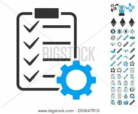 Smart Contract Gear icon with bonus smart contract clip art. Vector illustration style is flat iconic symbols, modern colors.