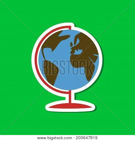 paper sticker on stylish background of globe
