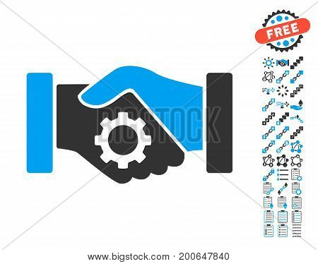 Smart Contract Handshake pictograph with bonus blockchain design elements. Vector illustration style is flat iconic symbols, modern colors.