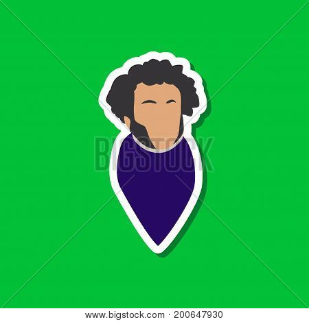 paper sticker on stylish background of Alexander Pushkin