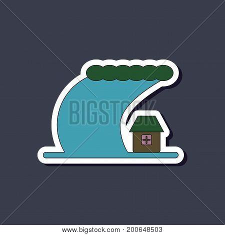 paper sticker on stylish background of tsunami