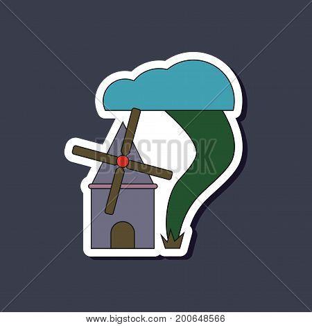paper sticker on stylish background of tornado mill