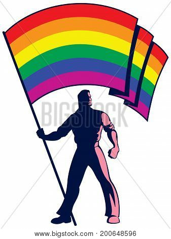 Man holding the pride flag over white background.
