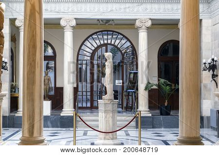 MURCIA, SPAIN - MAY 19, 2017: This is a fragment of the interior of the Pompeii Courtyard in the Royal Casino.