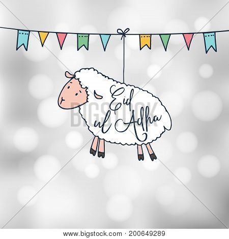 Eid-ul-Adha greeting card with hand drawn sheep and party flags. Muslim community festival of sacrifice, modern blurred vector illustration background, web banner.
