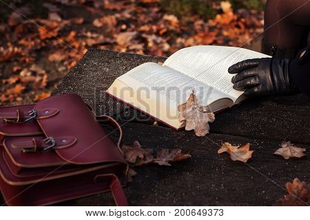 Autumn mood. Young woman reading a book in park in the fall, close up.