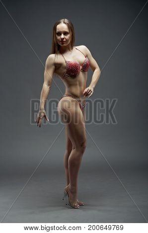Woman with perfect athletic body . fitness bikini