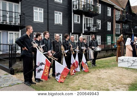 Canterbury Kent United Kingdom - 8 July 2017: Group of men musicians at the yearly medieval parade at the city of Canterbury in Kent United Kingdom.
