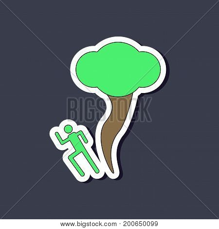 paper sticker on stylish background of tornado and human