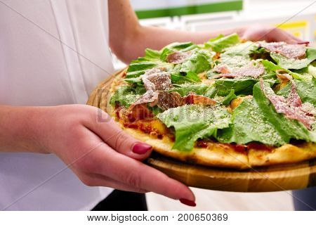 Eating Food. Close-up Of People Hands Taking Slices Of Pepperoni Pizza.