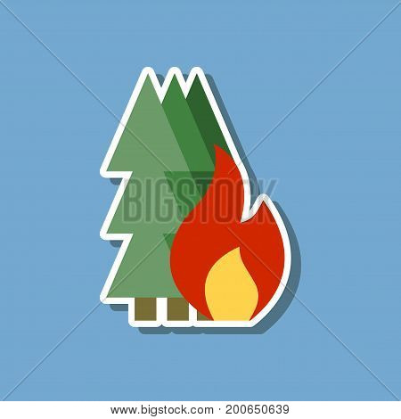paper sticker on stylish background forest fire