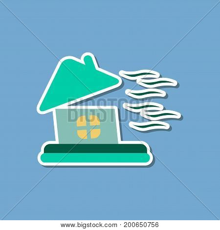 paper sticker on stylish background storm the house