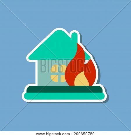 paper sticker on stylish background nature fire house