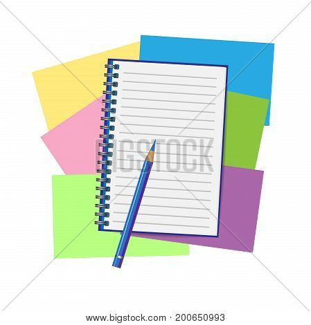 Opened notepad with pencil. Sketchbook or diary. Vector illustration