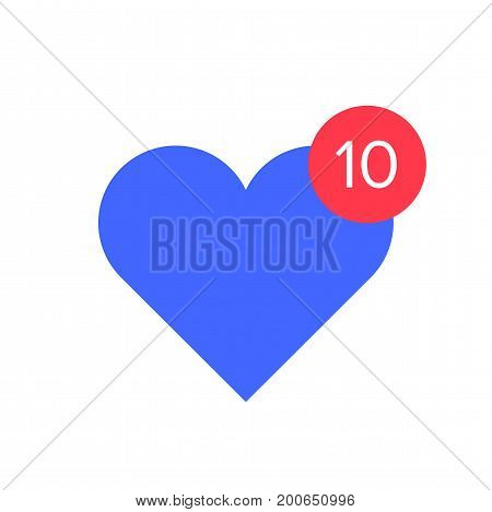 Counter notification icon. Blue heart with red circle and text counter