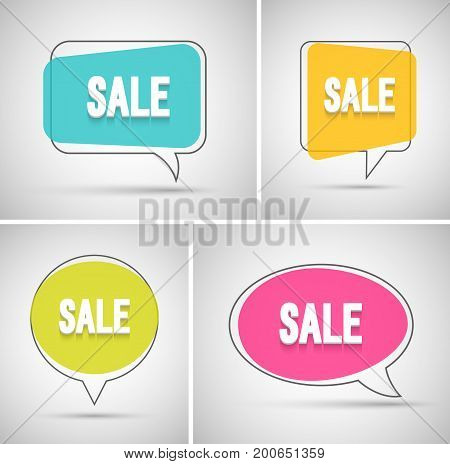 Sale Banners Creative Colorful Set. Vector illustration.