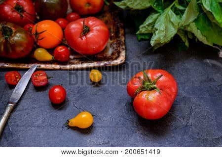 Colorful Tomatoes, Red Tomatoes, Yellow Tomatoes, Orange Tomatoes With Water Drops On The Dark Concr