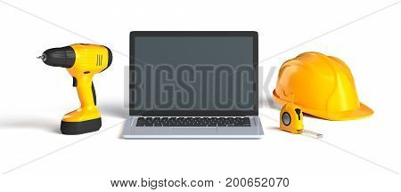 laptop and construction tools on white background, 3d illustration