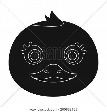 Duck muzzle icon in black design isolated on white background. Animal muzzle symbol stock vector illustration.