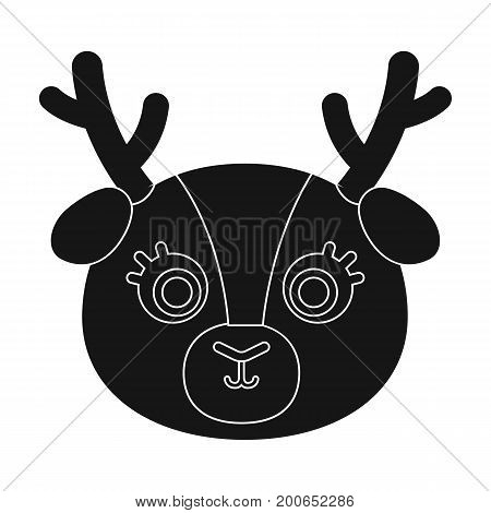 Deer muzzle icon in black design isolated on white background. Animal muzzle symbol stock vector illustration.