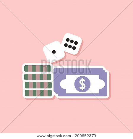 paper sticker on stylish background of Money dice chips
