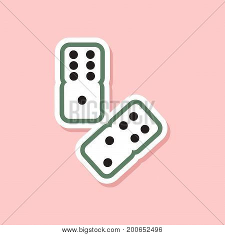 paper sticker on stylish background of poker dice lucky