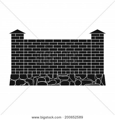 A fence of bricks. A different fence single icon in black style vector symbol stock illustration .