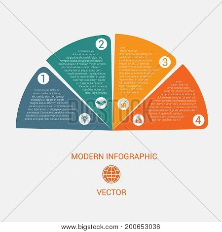 Business chart modern infographic vector template from color semicircle for 4 options business processes workflow diagram flowchart