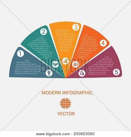 Business chart modern infographic vector template from color semicircle for 5 options business processes workflow diagram flowchart