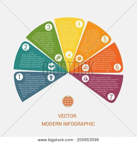Business chart modern infographic vector template from color semicircle for 7 options business processes workflow diagram flowchart