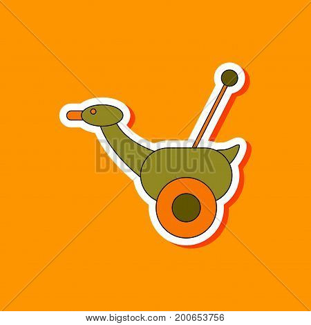 paper sticker on stylish background of Kids toy duck