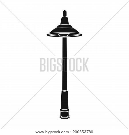 Lamppost with a conic bubble.Lamppost single icon in black style vector symbol stock illustration .