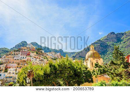 beautiful view on town Positano from the seaside on Amalfi coast Campania Italy