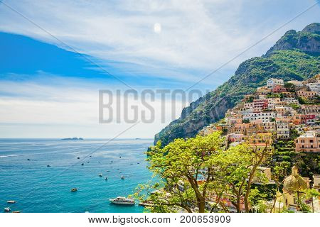 beautiful view on town Positano with yachts and boats on Amalfi coast Campania Italy