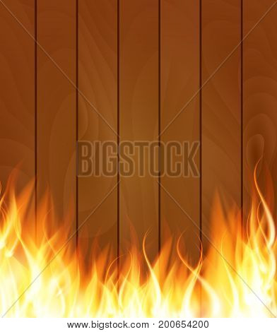 Burning Fire Special Light Effect Flames on Wood Boards Background. Vector Illustration EPS10