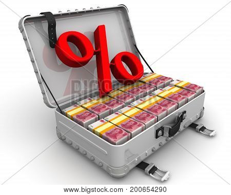 Advantageous percentage. Business concept. Red percentage sign and a suitcase filled with packs of Chinese banknotes (yuan). Isolated. 3D Illustration