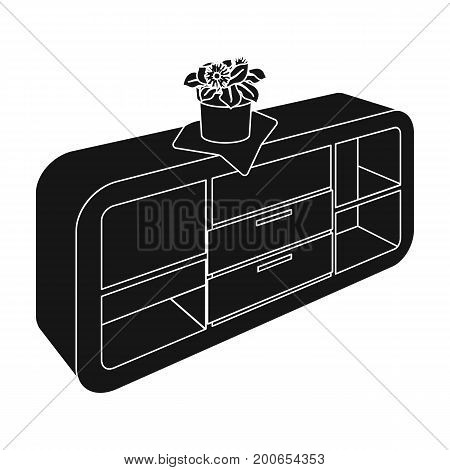 Chest, shelving with shelves and flower. Furniture and interior single icon in black style Isometric vector symbol stock illustration .